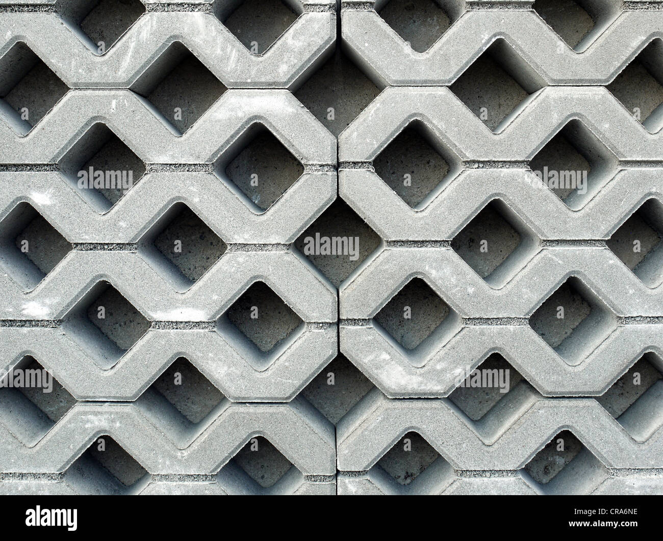 Openwork concrete pavement shot from above - Stock Image
