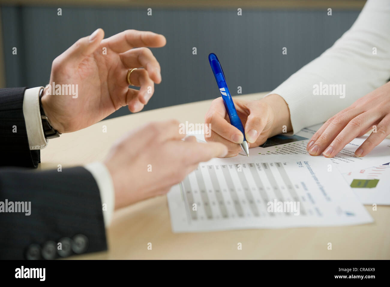 Working in the office, detail, hands - Stock Image