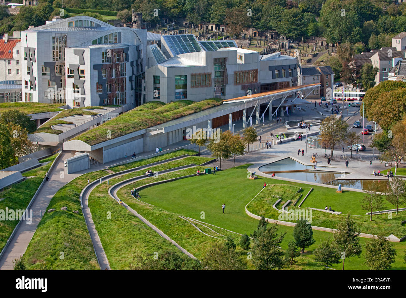 The Scottish Parliament at Holyrood viewed from the Salisbury Crags, Edinburgh. Stock Photo