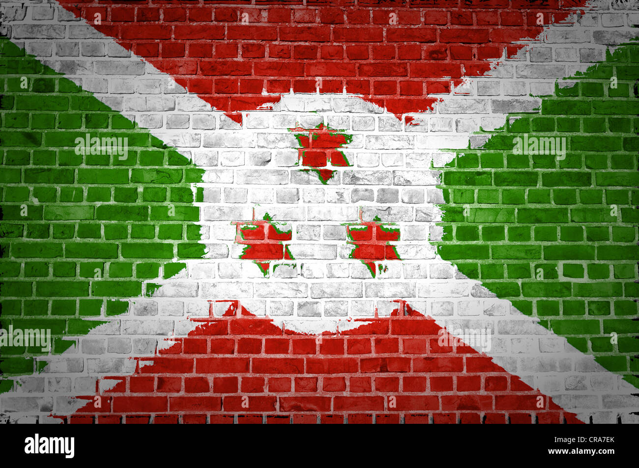 An image of the Burundi flag painted on a brick wall in an urban location - Stock Image