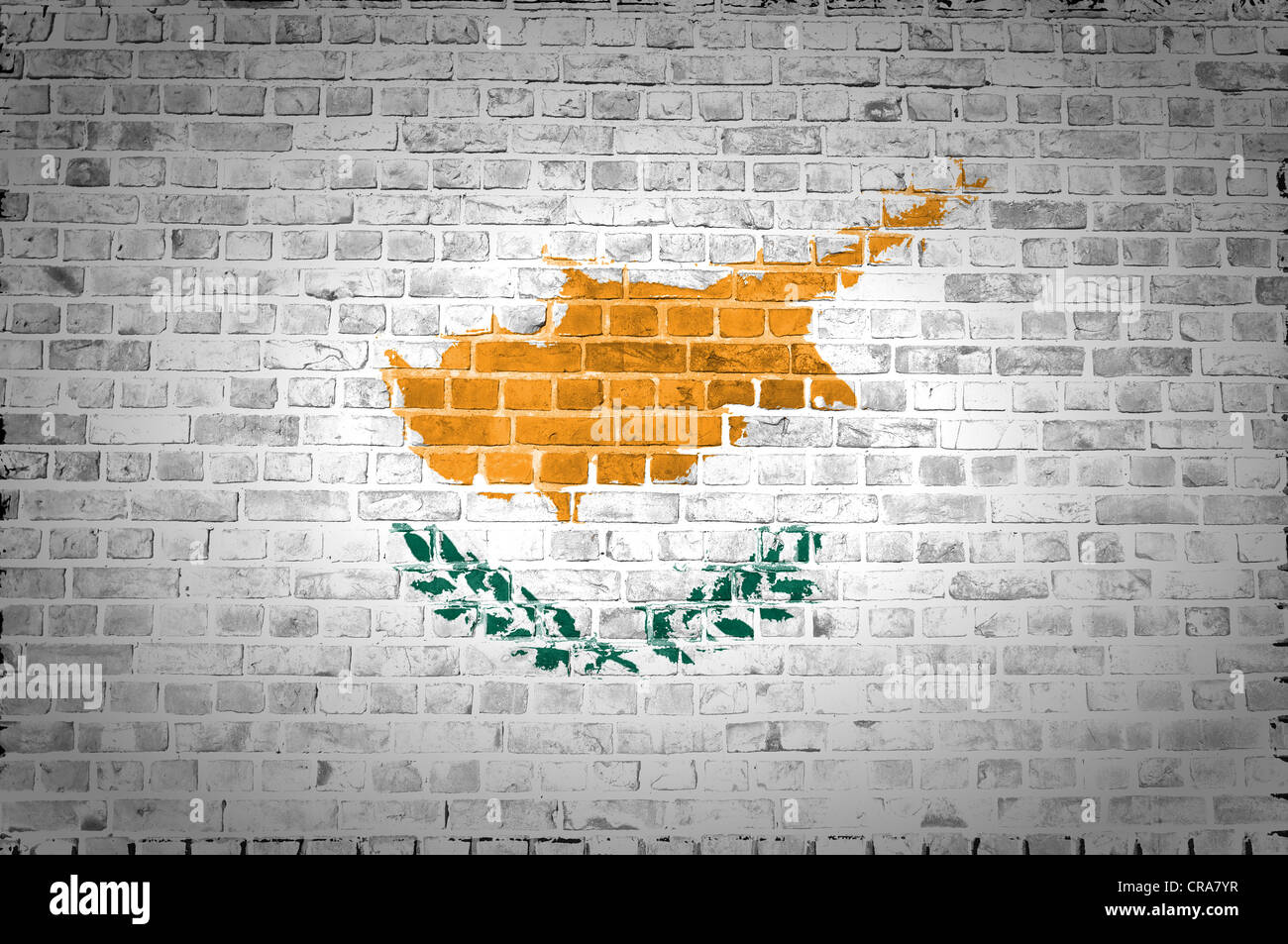 An image of the Cyprus flag painted on a brick wall in an urban location - Stock Image