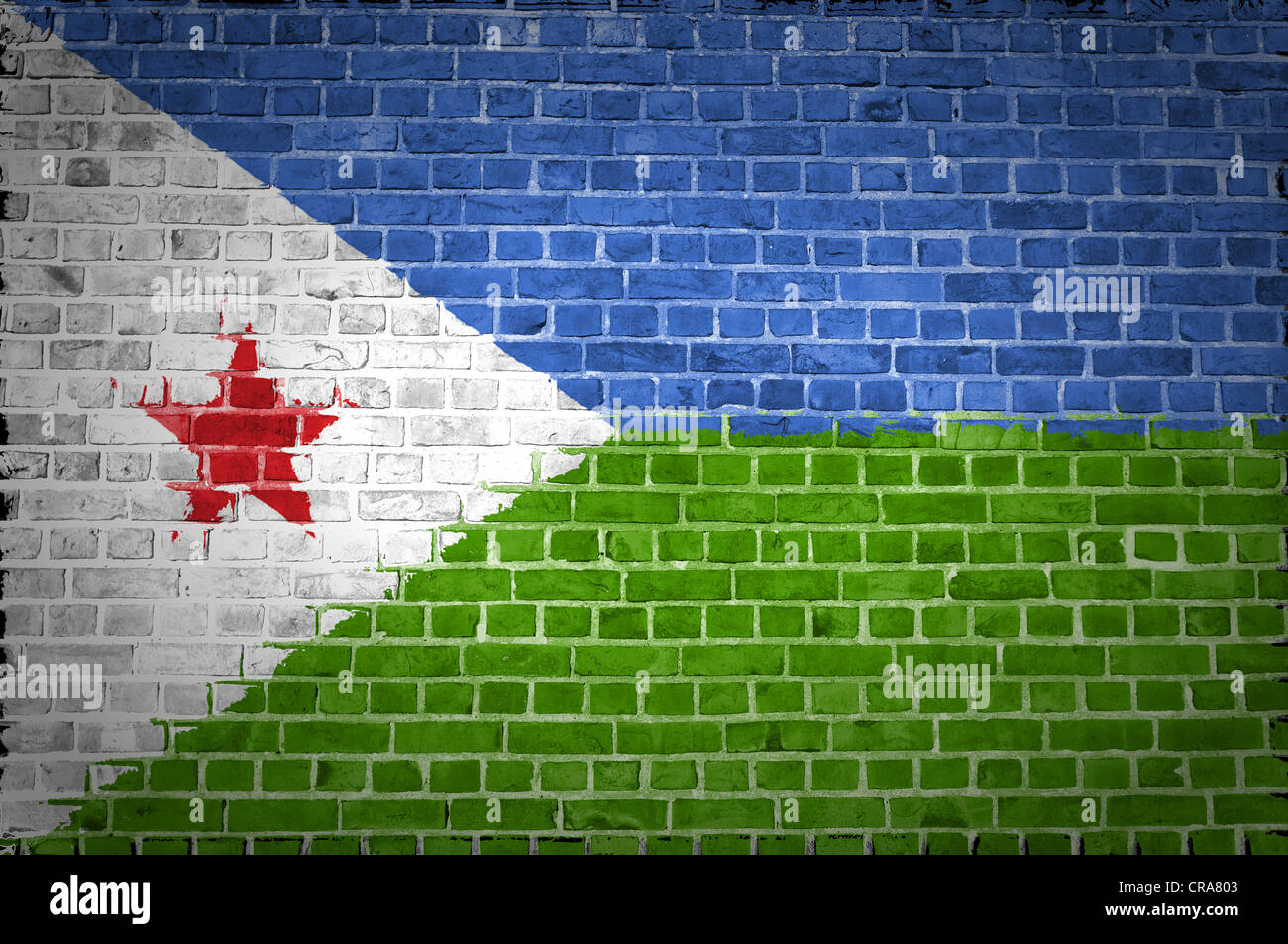An image of the Djibouti flag painted on a brick wall in an urban location Stock Photo