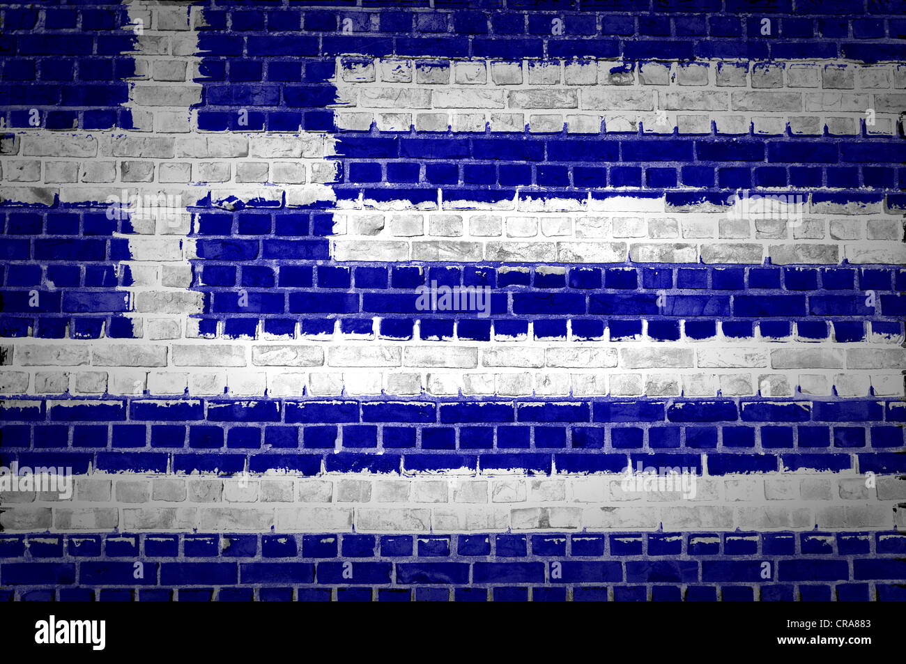 An Image Of The Greece Flag Painted On A Brick Wall In An Urban Stock Photo Alamy