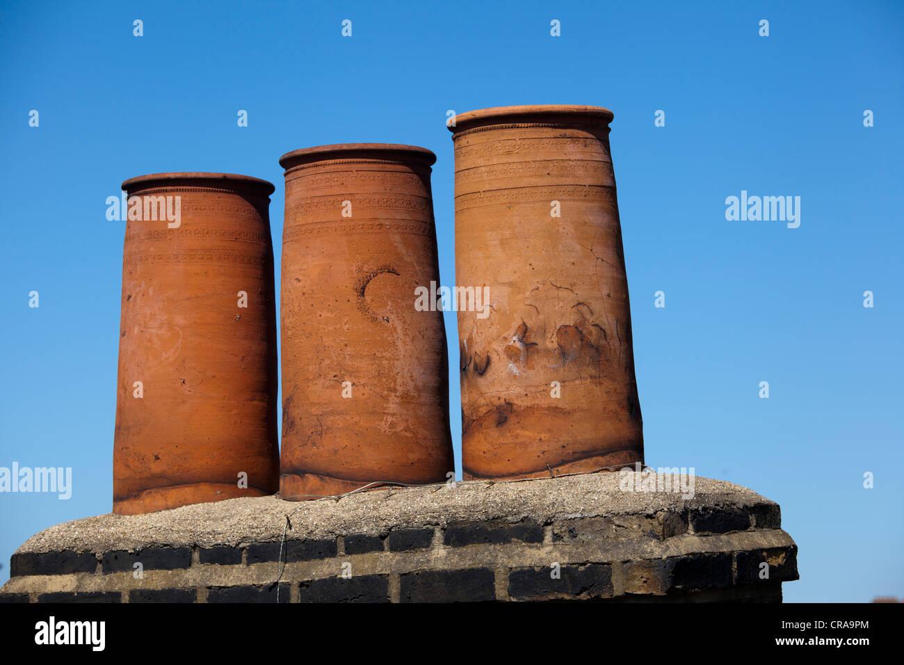 chimney pots of London - Stock Image