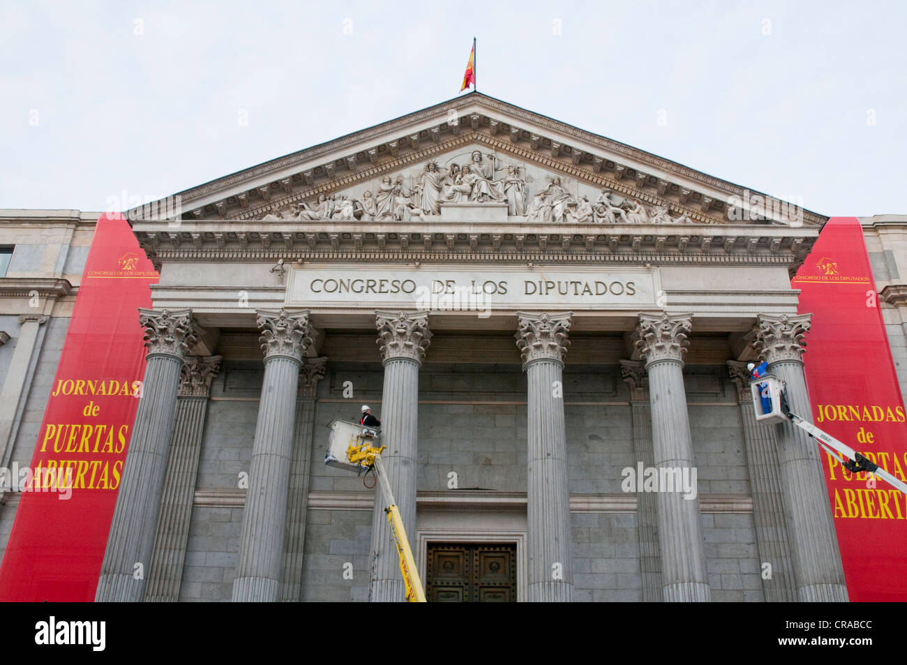 Preparing the Open Doors Days, Congreso de los Diputados. Madrid, Spain. - Stock Image