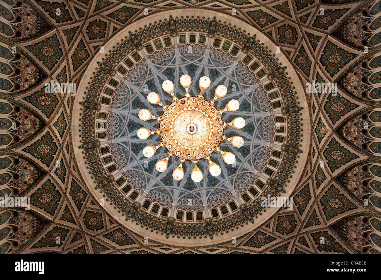 Swarowski chandelier, weight eight tons, width eight meters, height 15 meters, dome, ornaments, prayer hall men - Stock Image