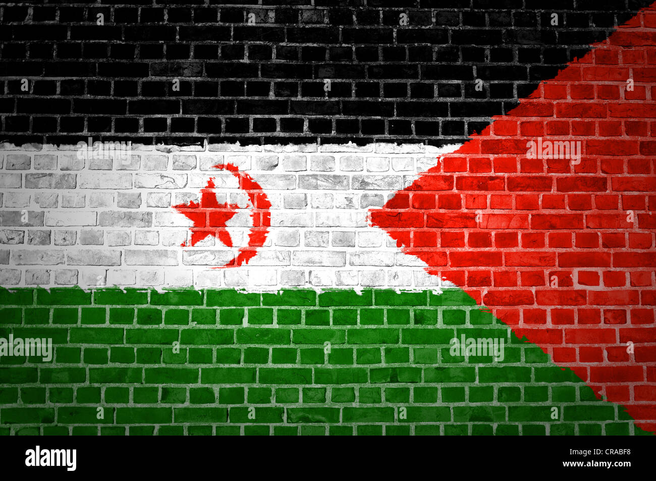 An image of the Western Sahara flag painted on a brick wall in an urban location - Stock Image