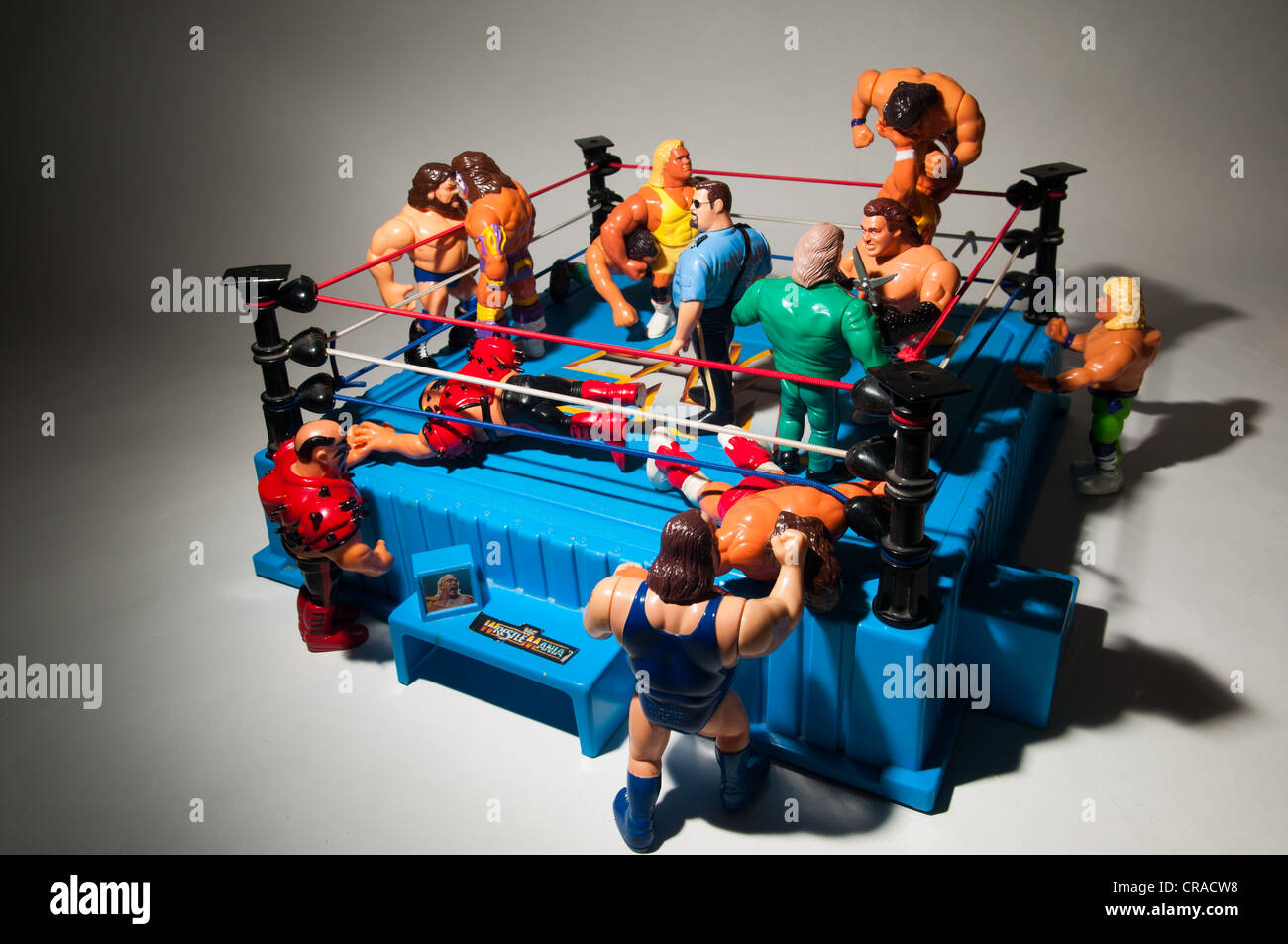 WWF Hasbro action figures in a ring - Stock Image