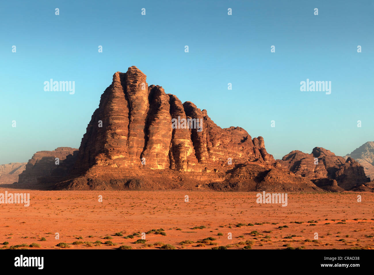Seven Pillars of Wisdom, mountain, plain, desert, Wadi Rum, Hashemite Kingdom of Jordan, Middle East, Asia - Stock Image