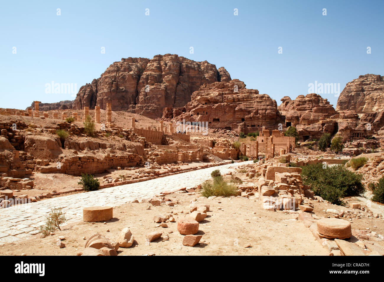 Colonnaded street, Petra, the capital city of the Nabataeans, rock city, UNESCO World Hertage Site, Wadi Musa - Stock Image