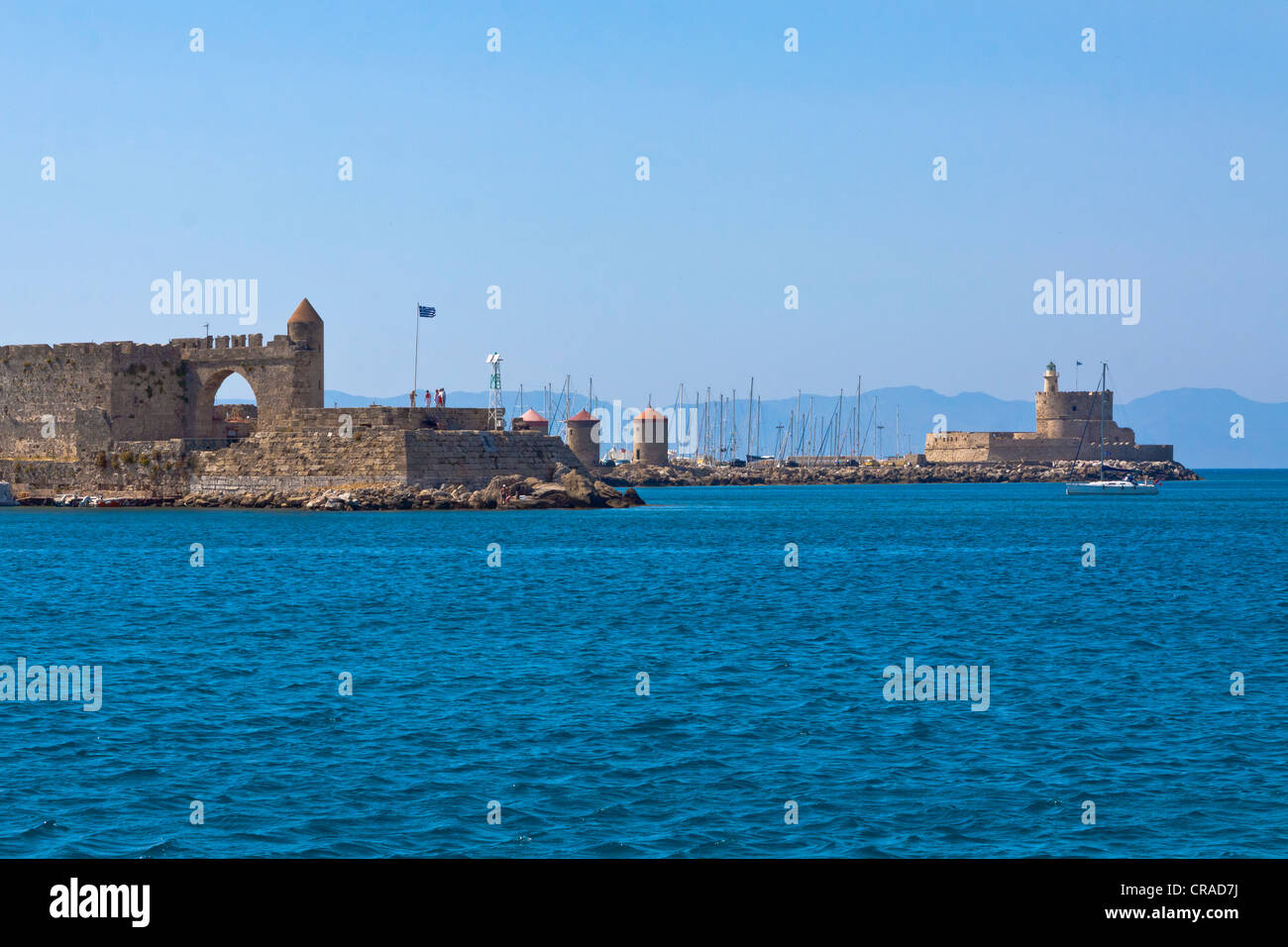 Fortress tower of Agios Nicholas, wind mills, Citadel, harbour, city of Rhodes, Rhodes, Greece, Europe - Stock Image