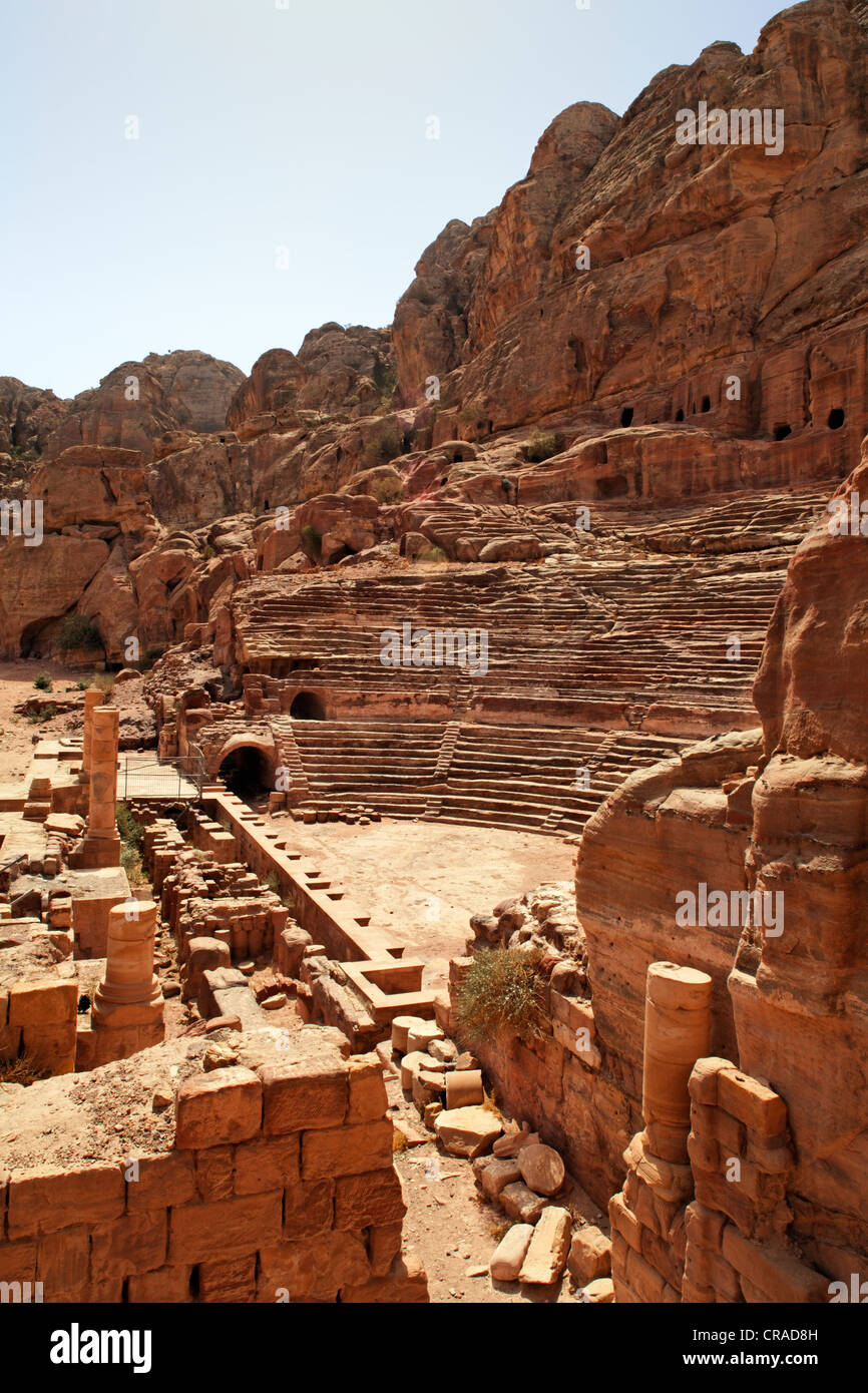 Roman Theatre, Petra, the capital city of the Nabataeans, rock city, UNESCO World Hertage Site, Wadi Musa - Stock Image