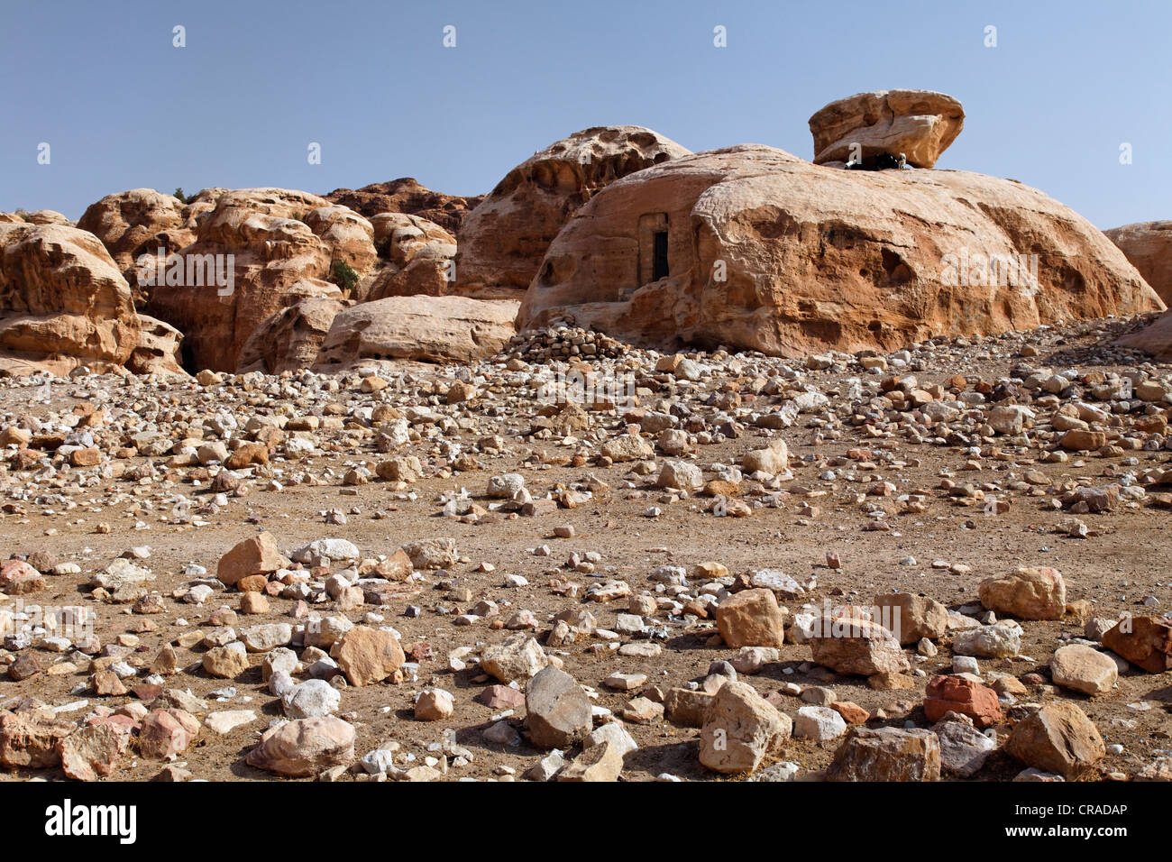 Sandstone rocks, tombs, gravel, Little Petra, the capital city of the Nabataeans, rock city, UNESCO World Hertage - Stock Image