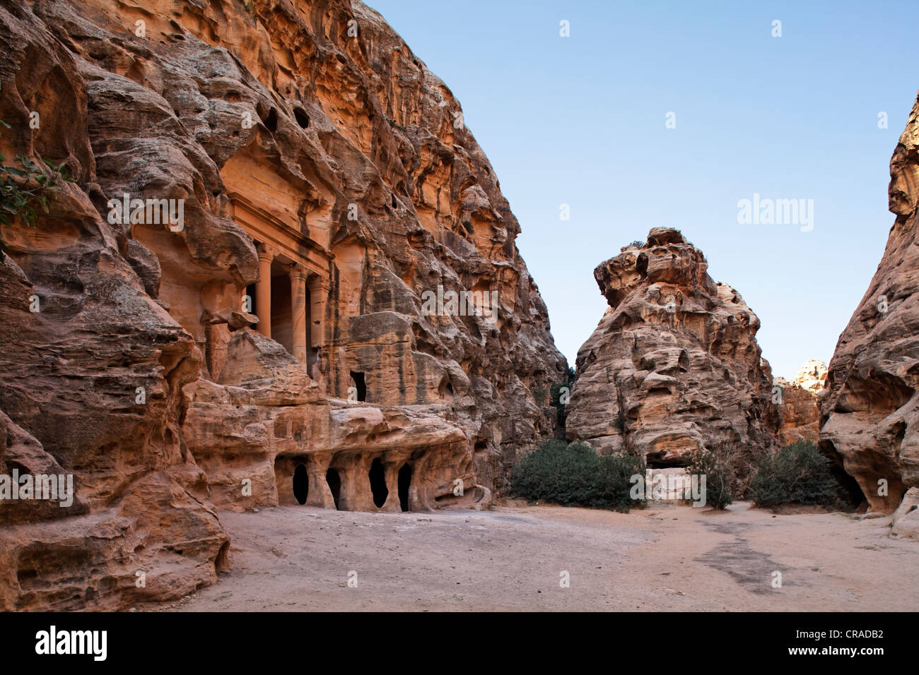 Engraved sandstone at the portal of a tomb, Little Petra, the capital city of the Nabataeans, rock city - Stock Image