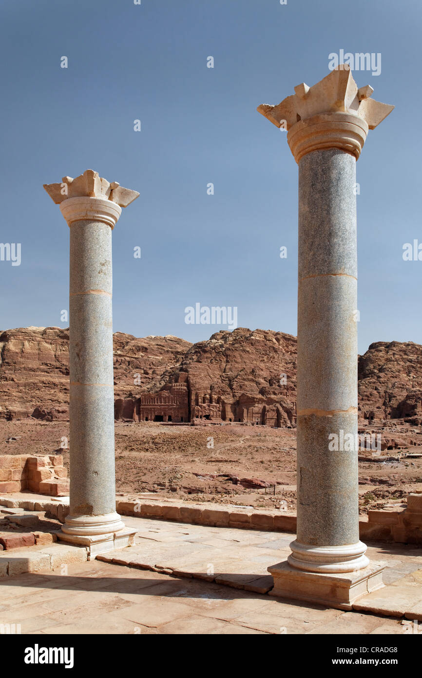 Columns of the Temple of the Winged Lions, Valley of the Royal Tombs, Royal Wall, Petra, the capital city of the - Stock Image