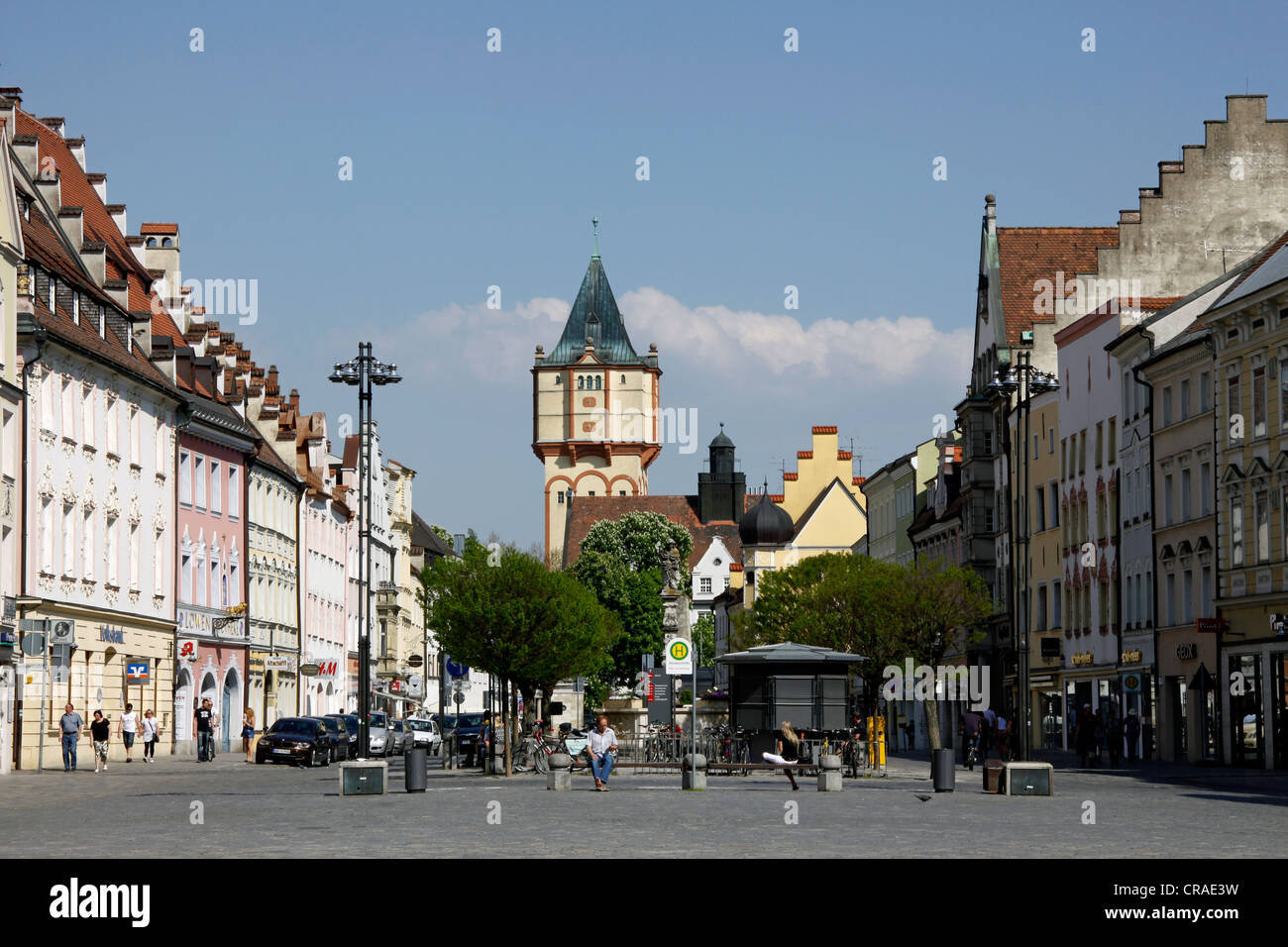 Pedestrian zone, city square, city centre of Straubing, Bavaria, Germany, Europe - Stock Image
