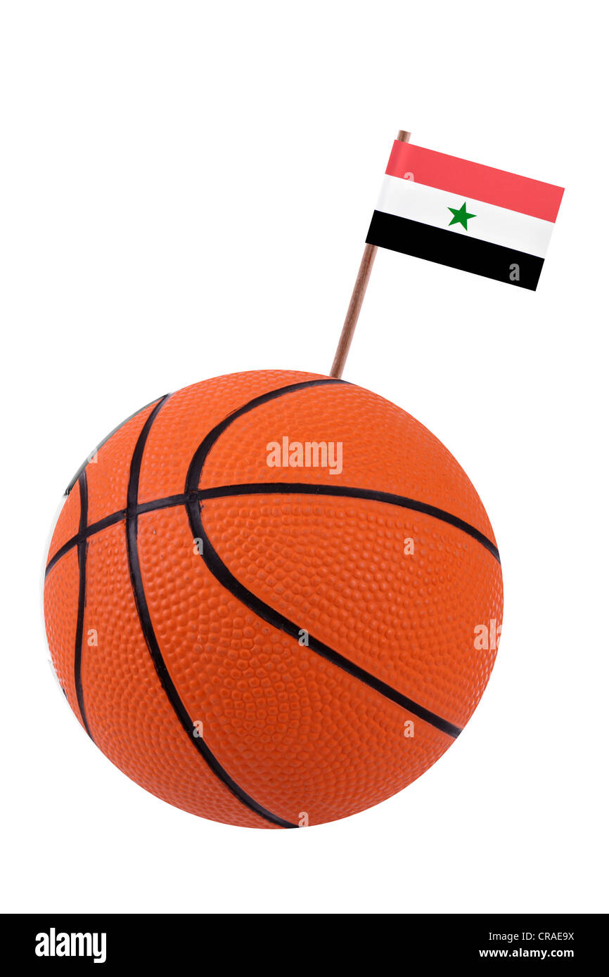 Soccer ball or football decorated with a small national flag on a tooth stick - Stock Image