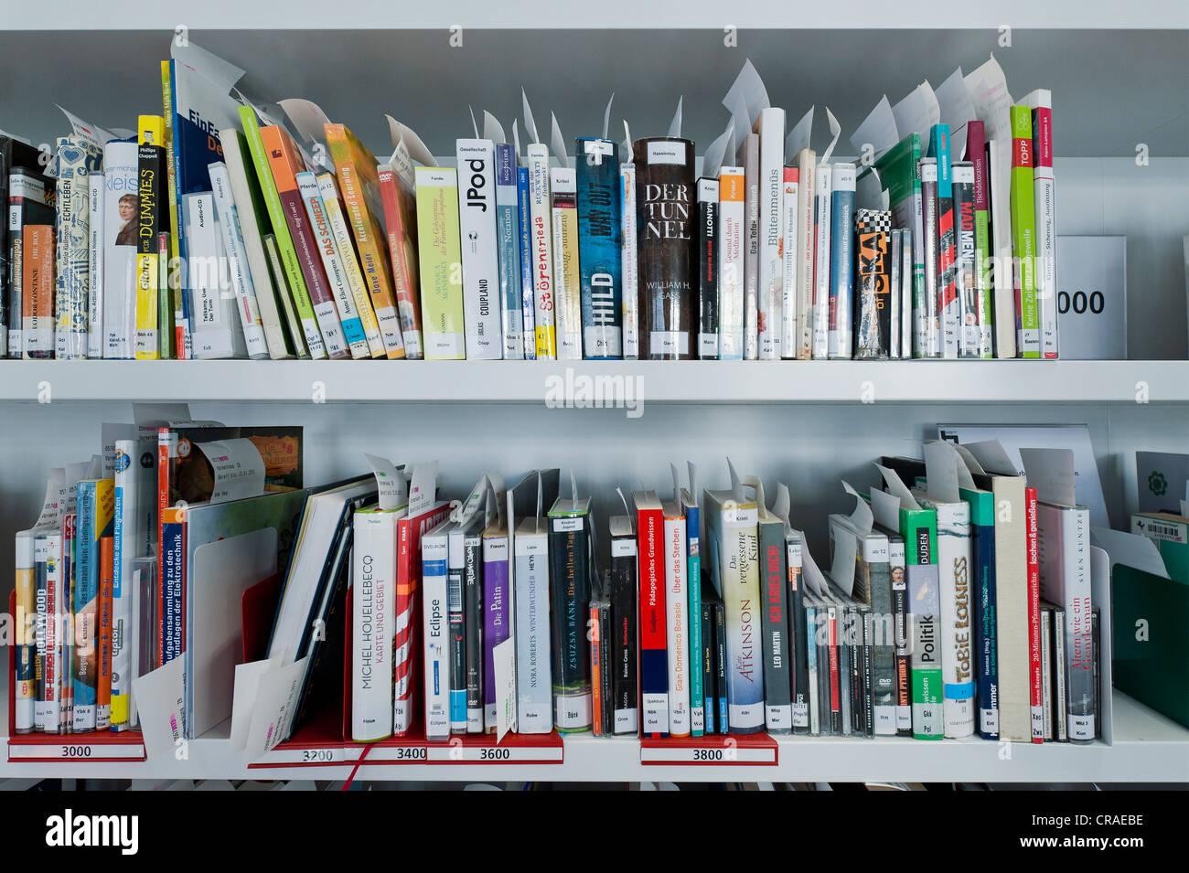 Books, book shelves, New Stuttgart City Library, Stuttgart, Baden-Wuerttemberg, Germany, Europe, PublicGround - Stock Image
