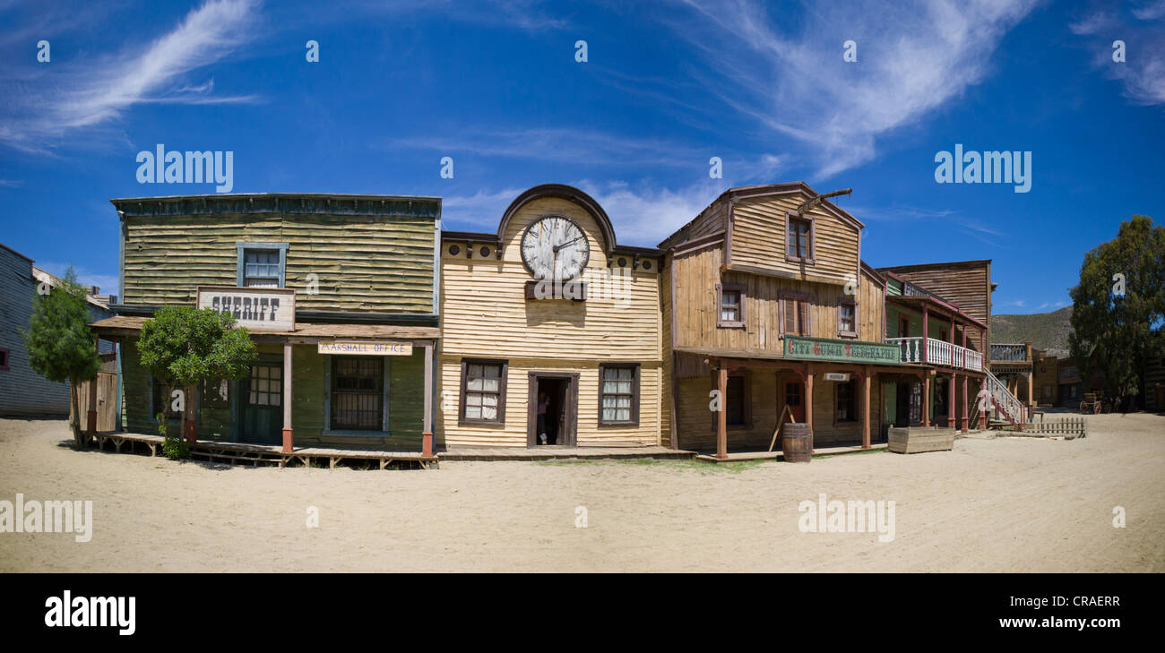 Fort Bravo, western town, former film set, now a tourist attraction, Tabernas, Andalusia, Spain, Europe - Stock Image