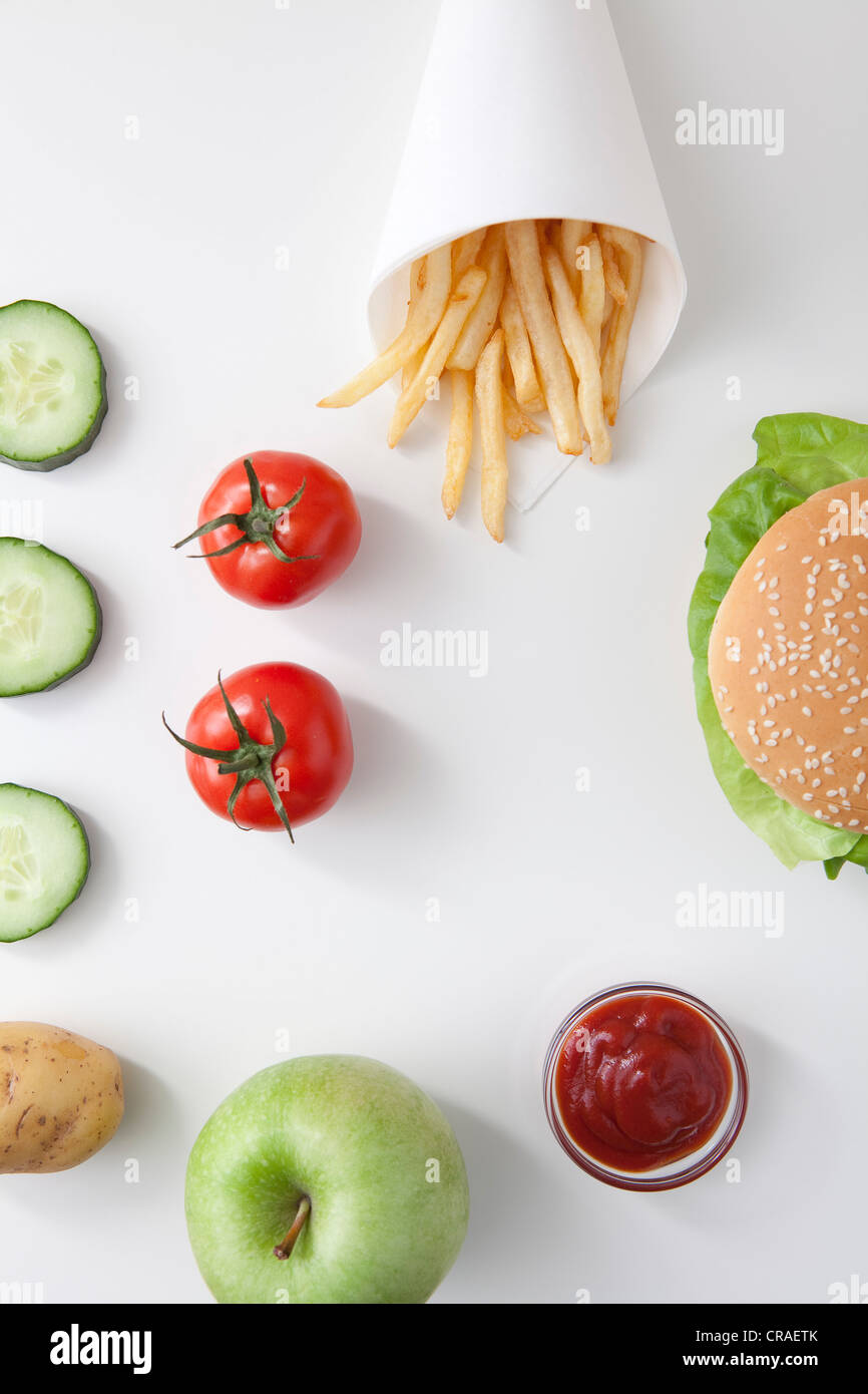 Burger And Fries Above Stock Photos & Burger And Fries Above Stock ...