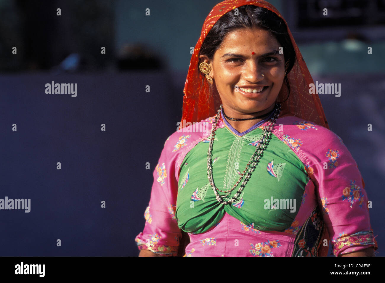 Woman, smiling, wearing traditional clothing, Kutch or Kachchh region, Gujarat, India, Asia - Stock Image