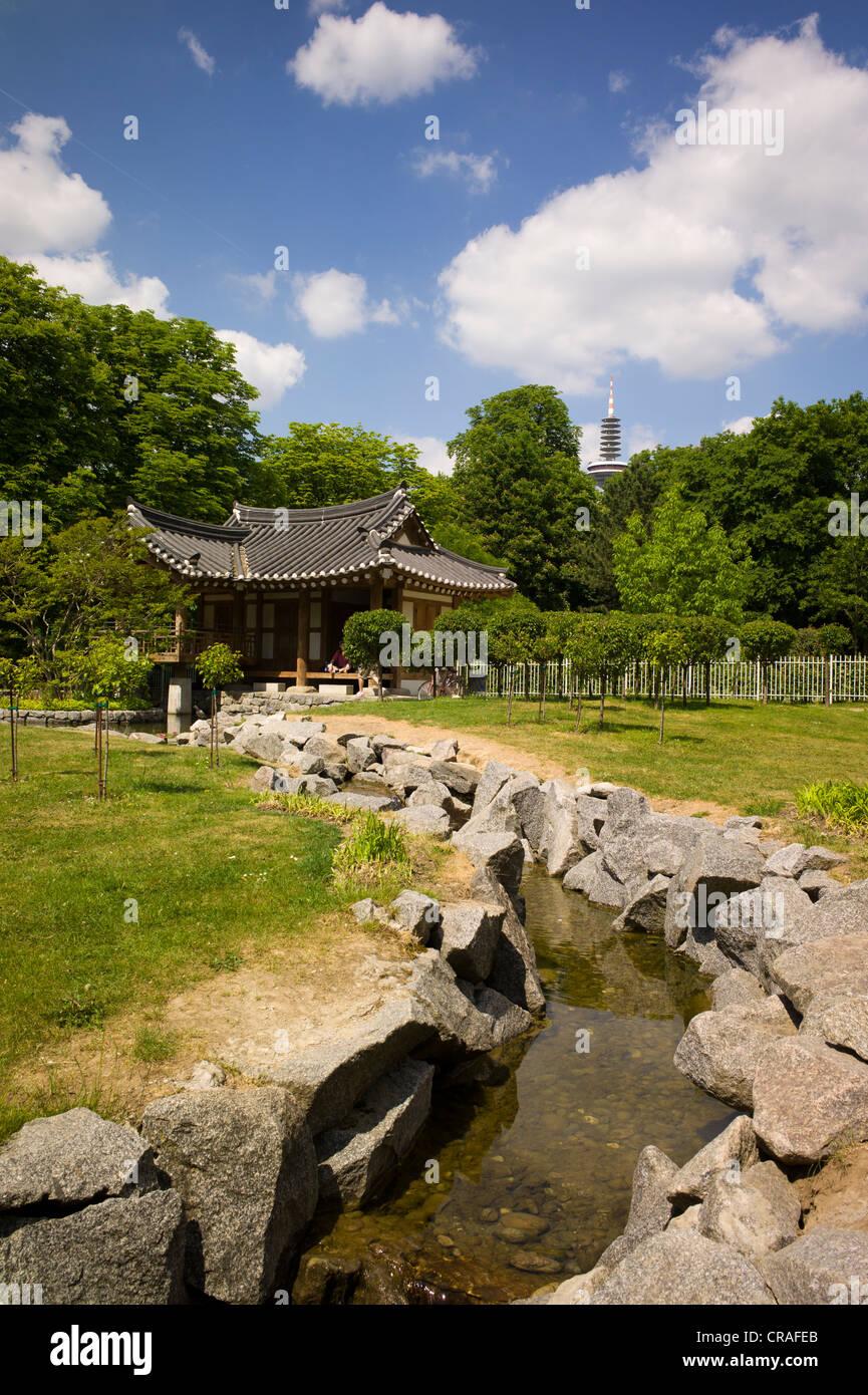 Koreanischer Garten park in the Grueneburgpark gardens, Frankfurter Gruenguertel nature preserve, Frankfurt, Germany, Stock Photo