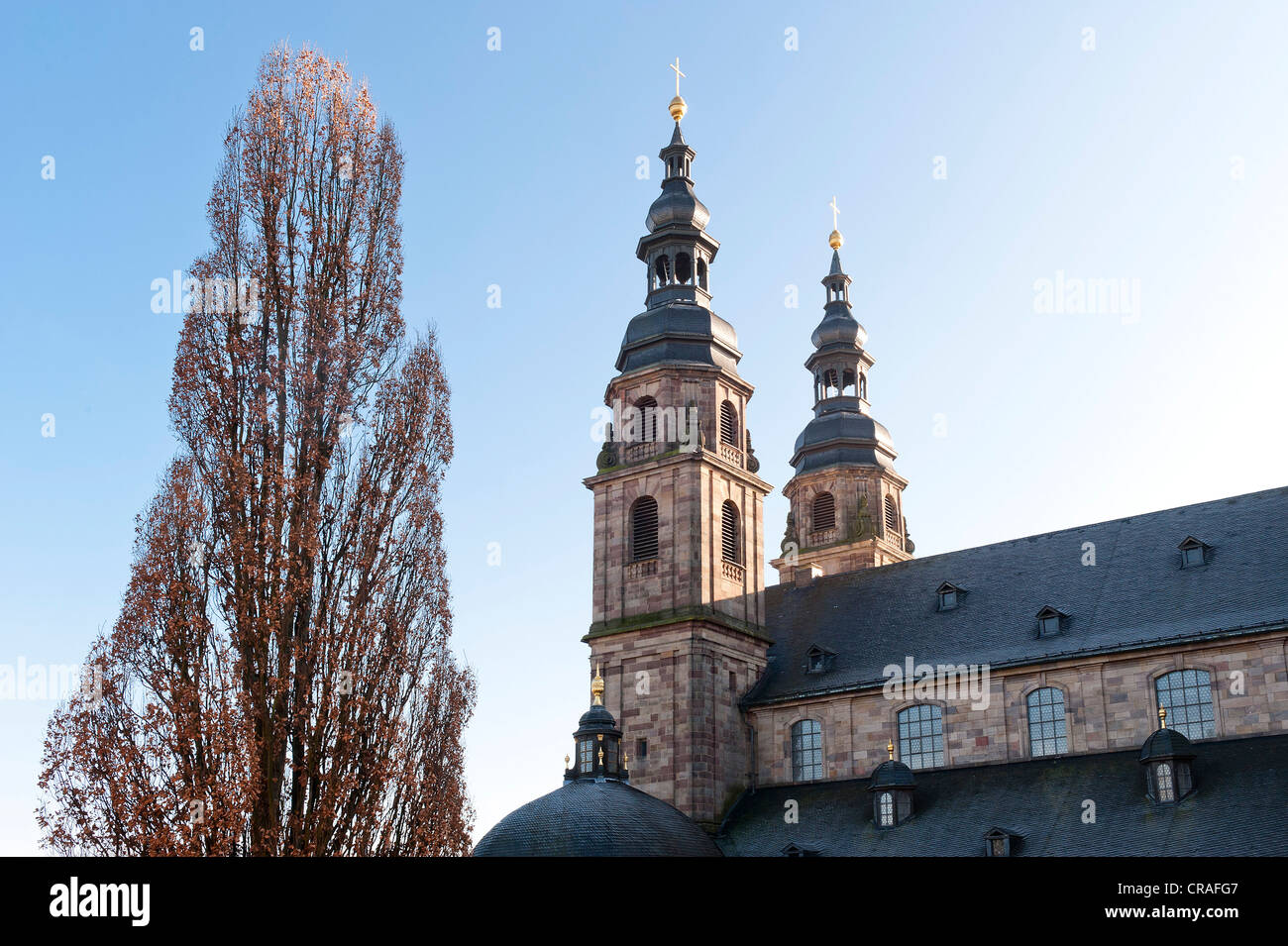 Cathedral towers built by Johann Dientzenhofer, 1704 - 1712, Fulda, Hesse, Germany, Europe - Stock Image