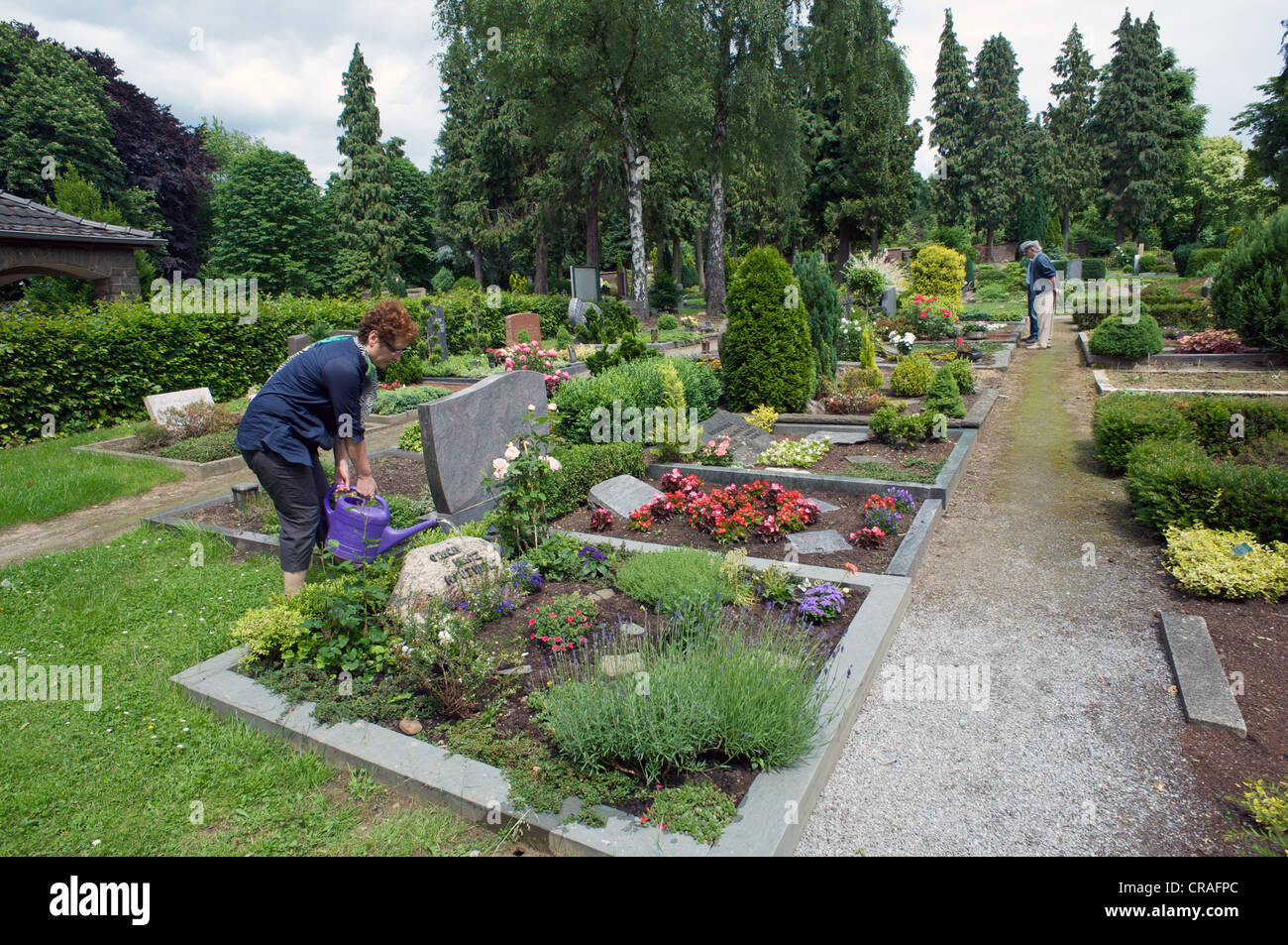 Woman watering flowers on a grave in a German graveyard - Stock Image