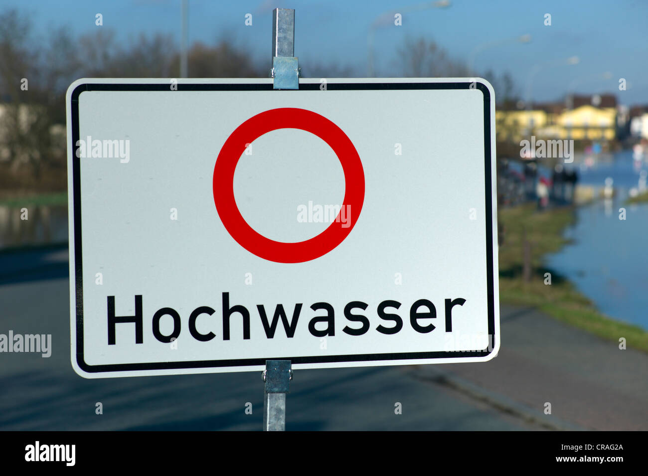 Sign with lettering 'Hochwasser', German for 'Caution! Flood', road closure, Hesse, Germany, Europe - Stock Image