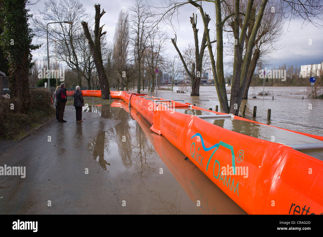 Artificial flood protection dam QUICK DAMM SYSTEM, flooding, Frankfurt, Hesse, Germany, Europe Stock Photo