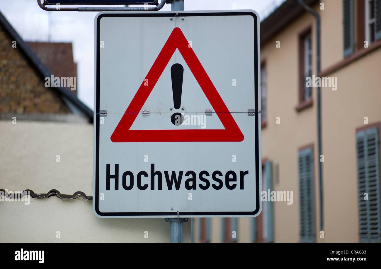 Sign 'Hochwasser', German for flooding, Germany - Stock Image