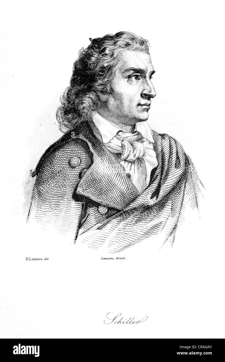 Friedrich Schiller, historical woodcut, 1850 - Stock Image