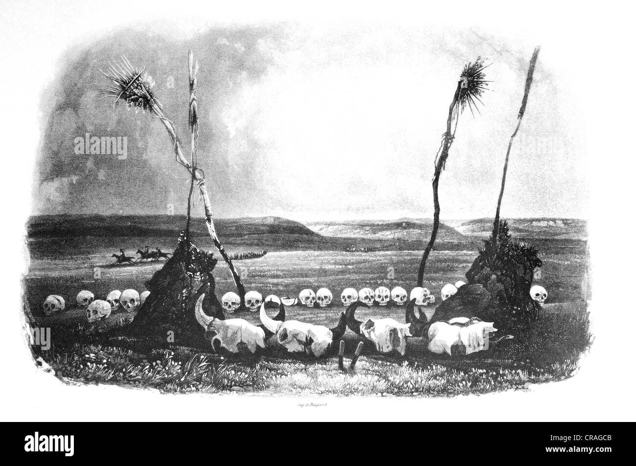 Victims of the Mandan Indians, historical illustration from Travels in the interior of North America in the years Stock Photo