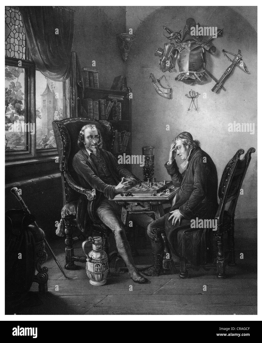 Chess players, historical engraving from 1852 - Stock Image