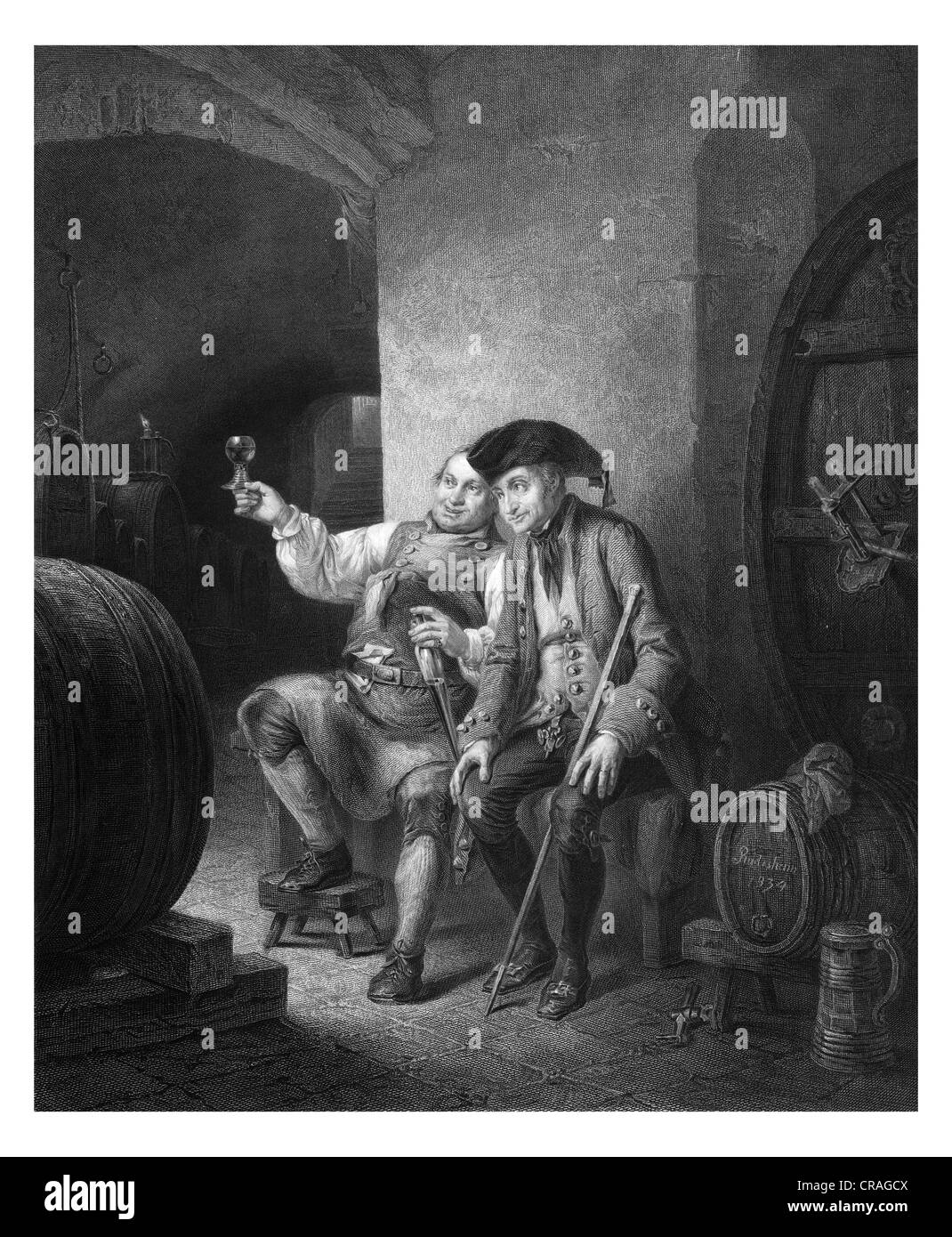 Wine tasting, historical engraving from 1852 - Stock Image