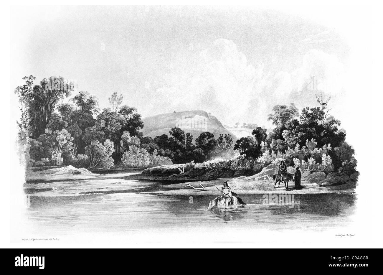 Washinga Sahba's grave in the Blackbirds Hills, Wakonda Creek, illustration from Travels in the Interior of - Stock Image