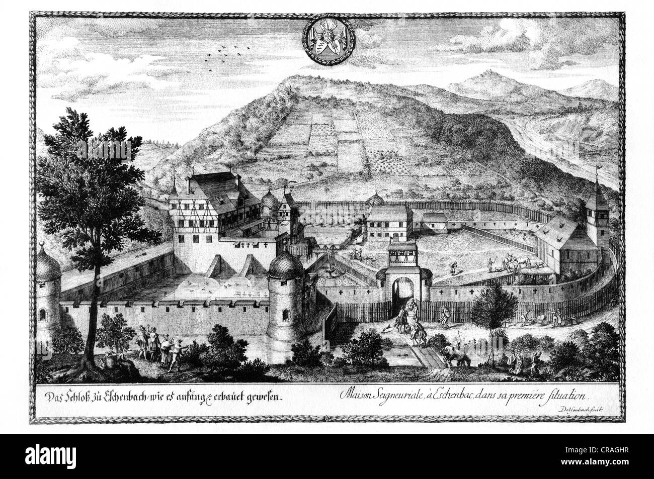 Eschenbach Castle as it was originally built, old woodcut from the 18th Century - Stock Image