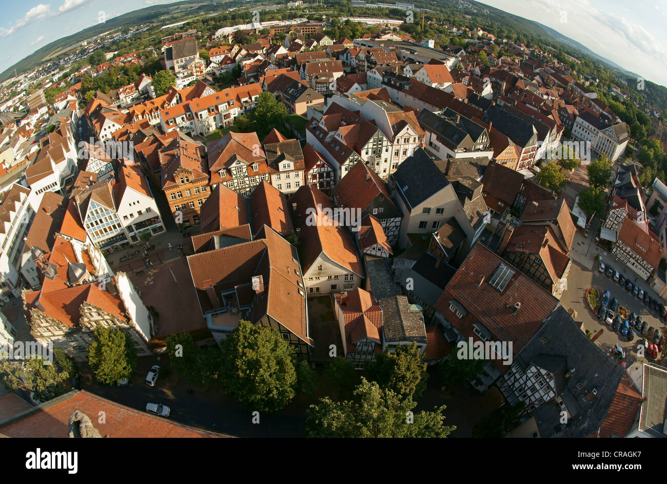 View from the tower of the Stadtkirche, Town Church, over Bad Hersfeld, fish eye shot, Hesse, Germany, Europe Stock Photo