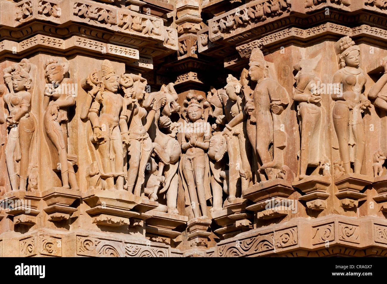 Decorative sculptures, Hindu deities, Khajuraho Group of Monuments, UNESCO World Heritage Site, Madhya Pradesh, - Stock Image