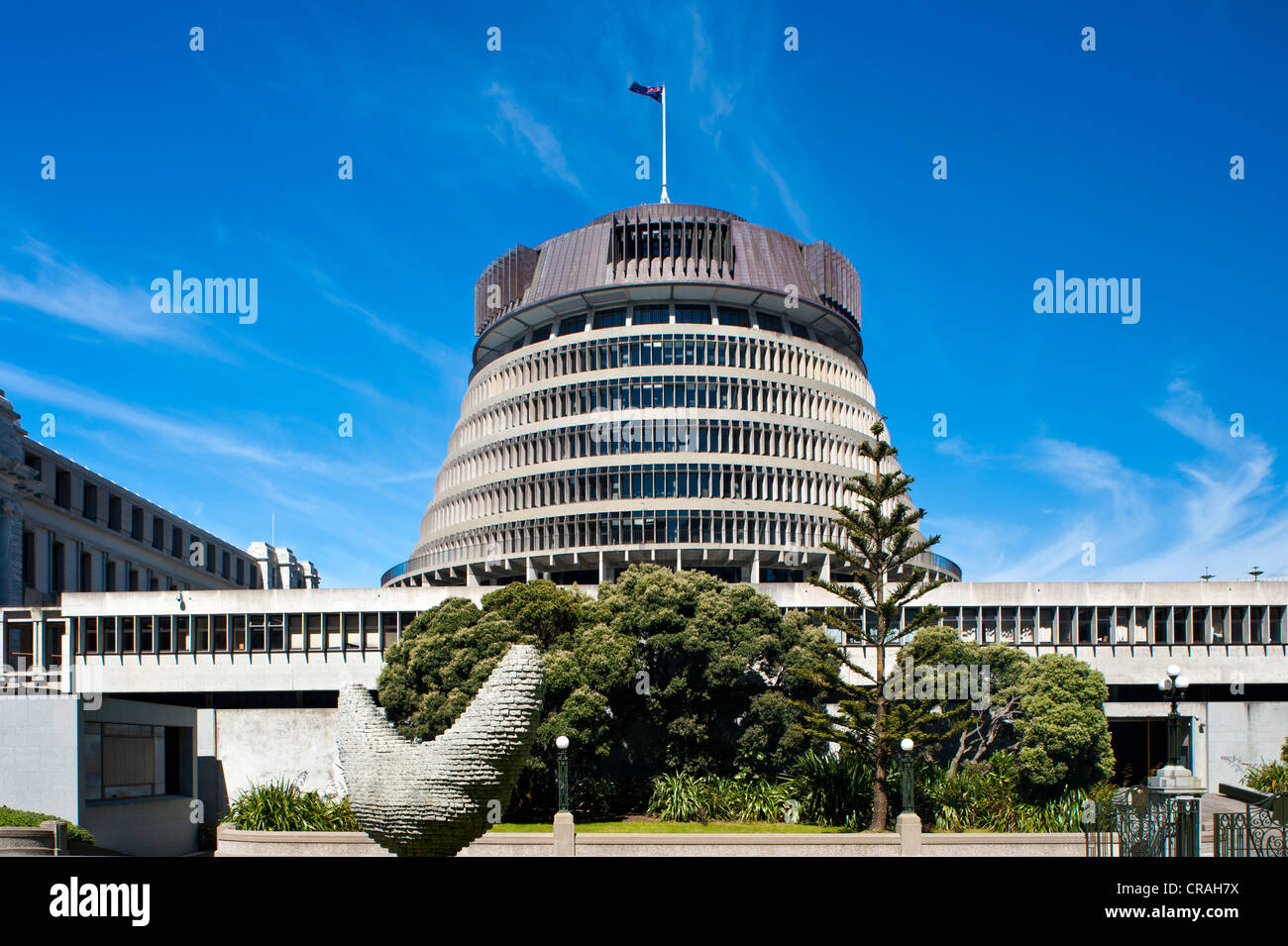 The Beehive, Parliament House, Wellington, North Island, New Zealand Stock Photo