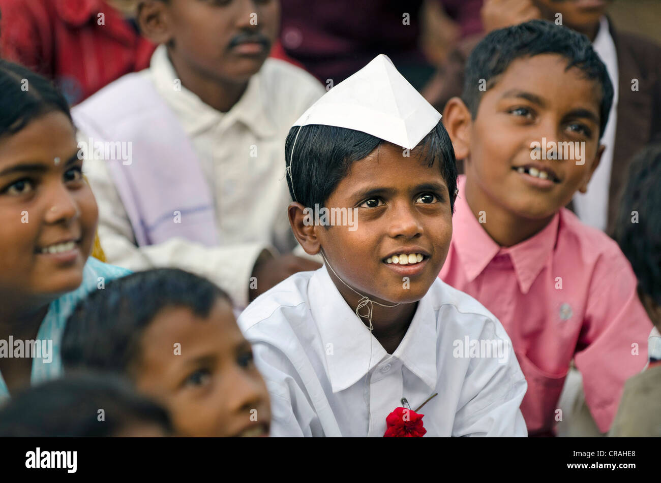 Boy dressed up as Jawaharlal Nehru, demonstration against child labour, Karur, Tamil Nadu, India, Asia - Stock Image