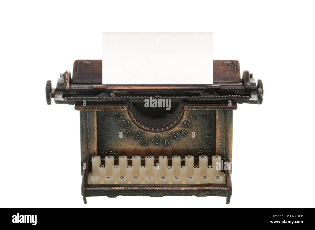 Old typewriter with a blank sheet - Stock Image