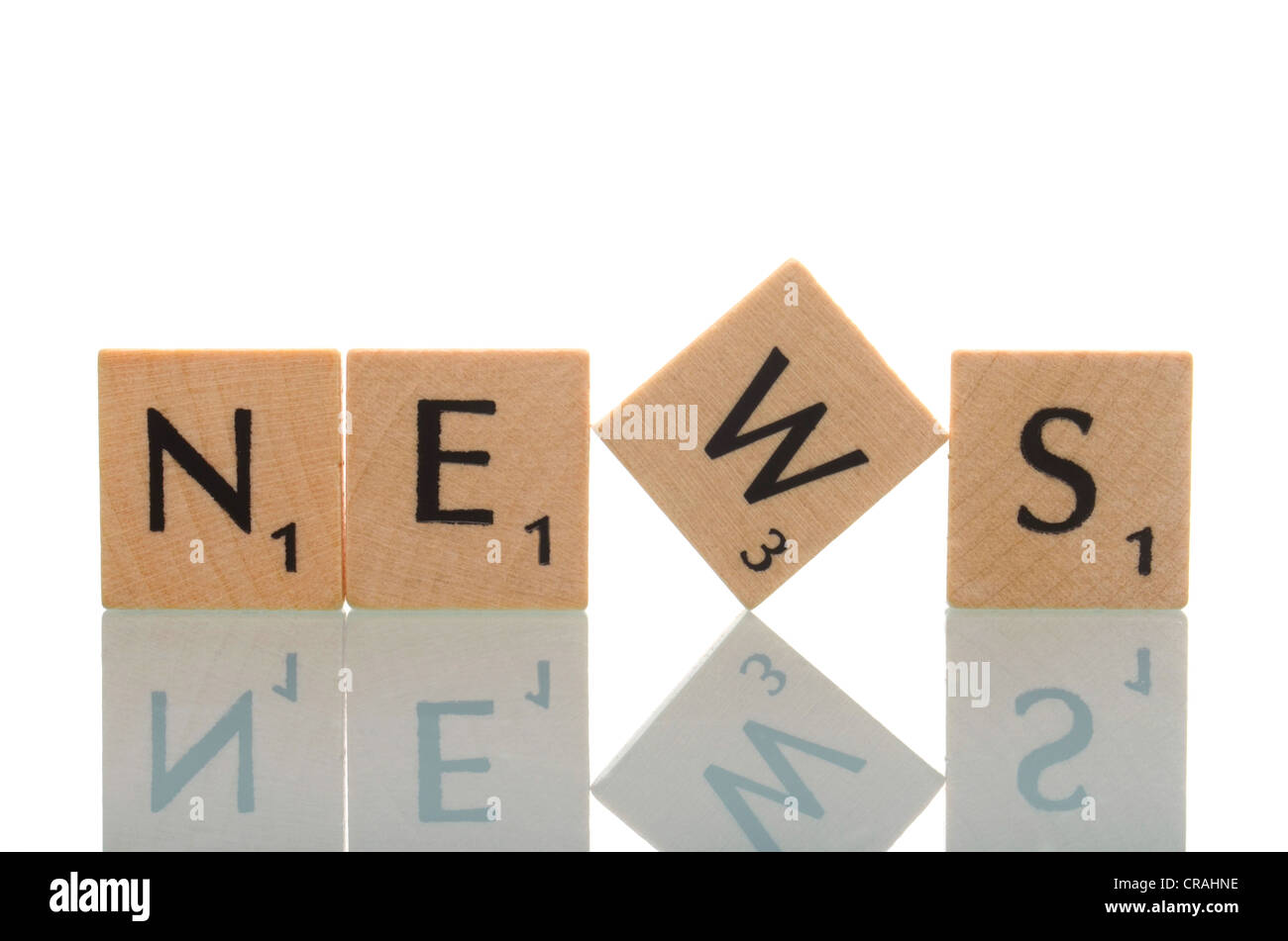 Letter tiles forming the word News - Stock Image
