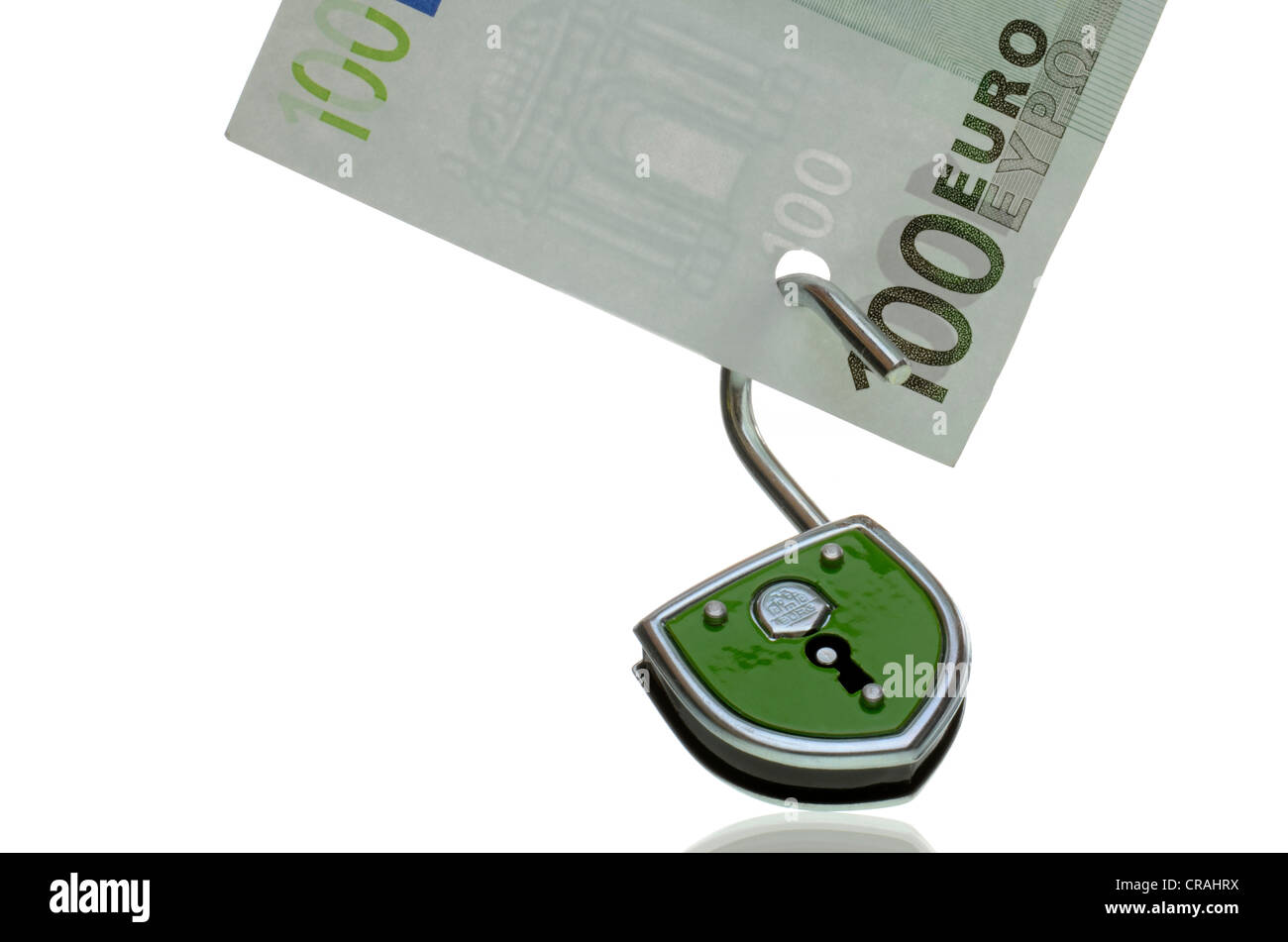 100-euro bill with an open lock, symbolic image for the unsafe euro, euro crisis Stock Photo