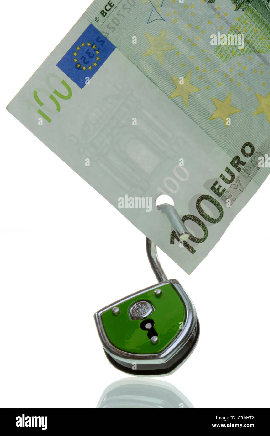 100-euro bill with an open lock, symbolic image for the unsafe euro, euro crisis - Stock Image