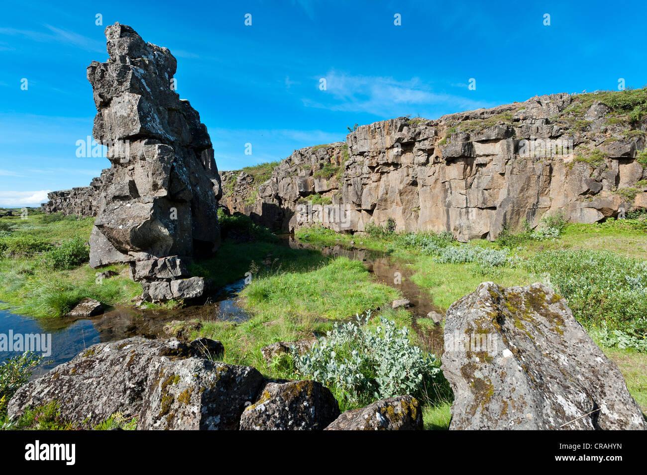 Rift valley, Thingvellir, Þingvellir National Park, Iceland, Europe Stock Photo