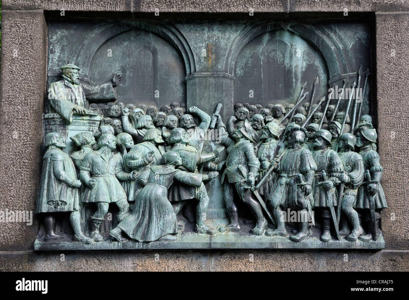 Relief, speech by Hans Tausen, reformer, Copenhagen, Denmark, Scandinavia, PublicGround - Stock Image