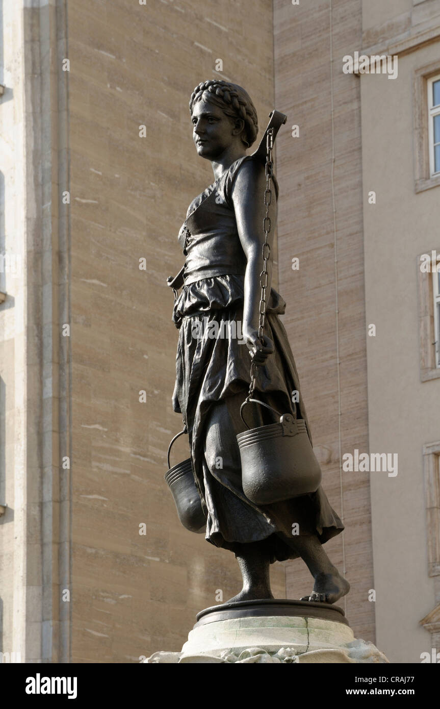 Maegdebrunnen fountin with motif from Goethe's Faust, Leipzig, Saxony, Germany, Europe - Stock Image