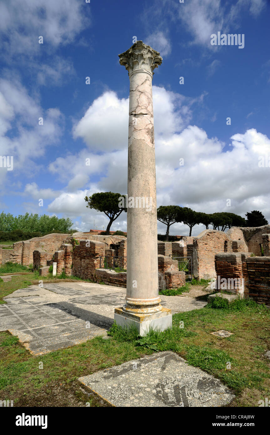 italy, rome, ostia antica, thermal baths of mitra, roman column - Stock Image