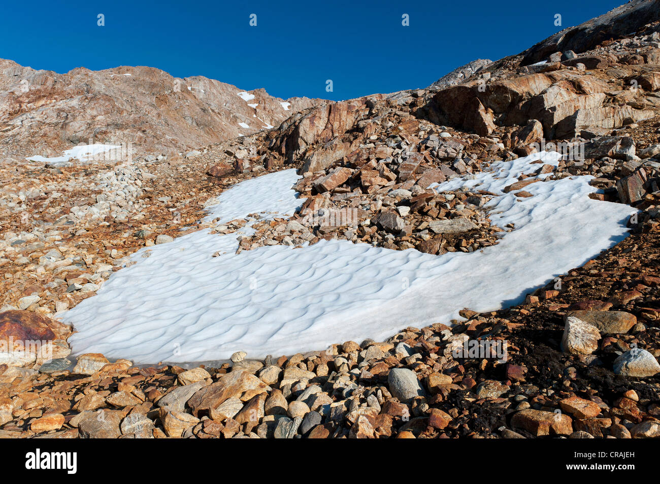 Snowfield on Mittivakkat Glacier, Ammassalik Peninsula, East Greenland, Greenland - Stock Image